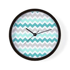 Teal Grey Chevron Stripes Wall Clock
