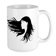 Beautiful woman with black curly hair Mug