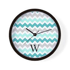Teal Grey Chevron Monogram Wall Clock