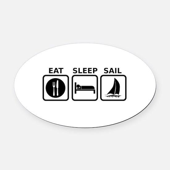 Eat Sleep Sail Oval Car Magnet