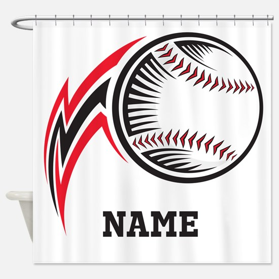 Personalized Baseball Pitch Shower Curtain