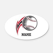 Personalized Baseball Pitch Oval Car Magnet