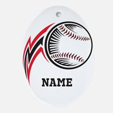 Personalized Baseball Pitch Ornament (Oval)