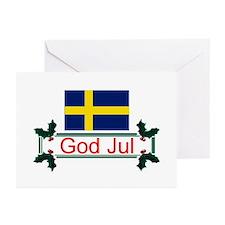 Swedish God Jul Greeting Cards (Pk of 10)