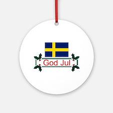 Swedish God Jul Ornament (Round)