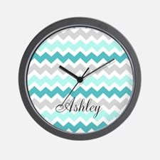 Teal Grey Chevron Custom Name Wall Clock