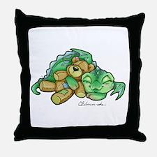Sleepy Teddy Bear Dragon Throw Pillow