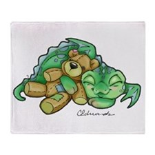 Sleepy Teddy Bear Dragon Throw Blanket
