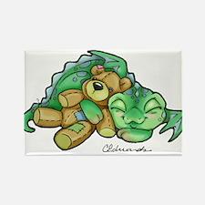 Sleepy Teddy Bear Dragon Rectangle Magnet