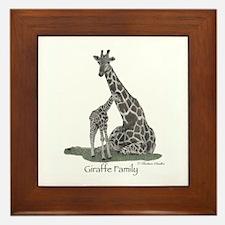 Giraffe Family Framed Tile