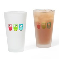 Three Wise Owls Drinking Glass