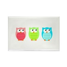 Three Wise Owls Rectangle Magnet