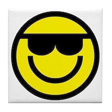 cool dude emoticon Tile Coaster
