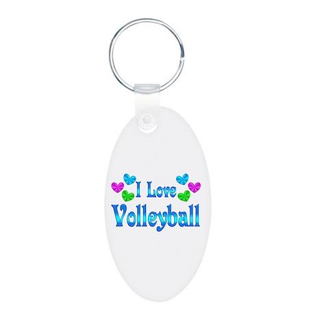 I Love Volleyball Aluminum Oval Keychain