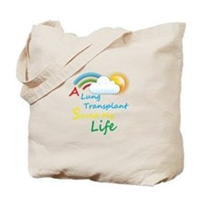 A Lung Transplant Saved my Life Rainbow Cloud Tote
