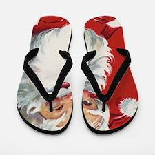 Vintage Christmas, Jolly Santa Claus Wi Flip Flops