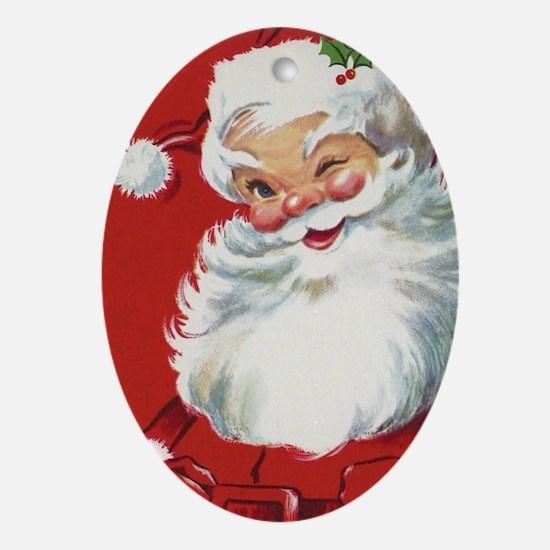 Vintage Christmas, Jolly Santa Claus Oval Ornament