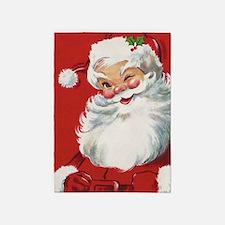 Vintage Christmas, Jolly Santa Clau 5'x7'Area Rug