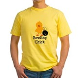 Bowling chicks Mens Classic Yellow T-Shirts