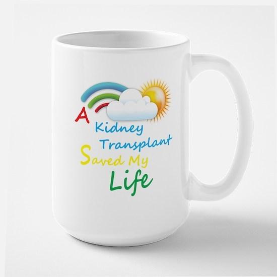 Kidney Transplant Rainbow Cloud Large Mug