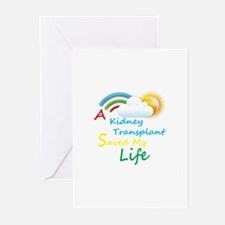 Kidney Transplant Rainbow Cloud Greeting Cards (Pk