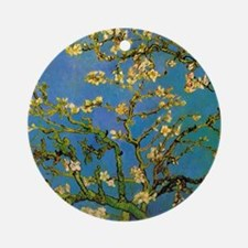 Blossoming Almond Tree by Vincent v Round Ornament