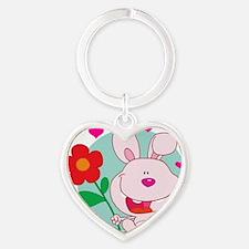 cute bunny rabbit and flower cartoo Heart Keychain