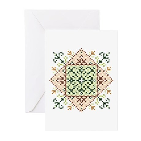 Cross Stitch Medallion Greeting Cards (Pk of 10)