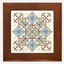 Classic Cross Stitch Medallion 2 Framed Tile