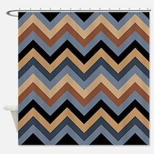 Beige Brown blue black chevrons Shower Curtain