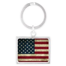 American Flag Landscape Keychain