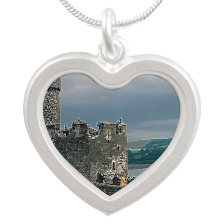 Caernarfon Castle Silver Heart Necklace