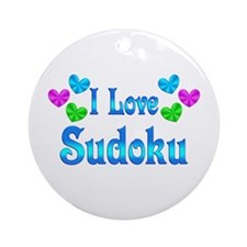 I Love Sudoku Ornament (Round)
