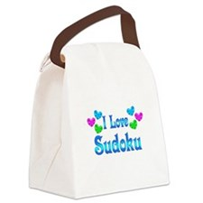 I Love Sudoku Canvas Lunch Bag