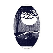 Birds in a Tree by the Full Moon Oval Car Magnet