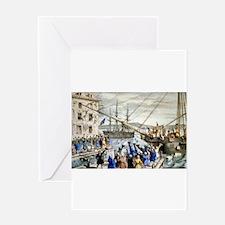 Destruction of tea at Boston Harbor - 1846 Greetin