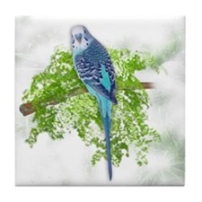 Blue Budgie on Green Tile Coaster