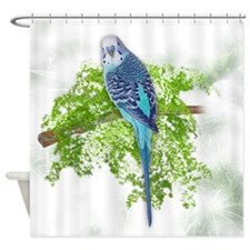 Blue Budgie on Green Shower Curtain