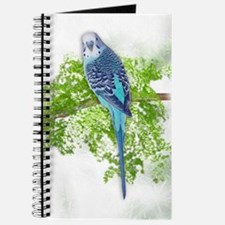 Blue Budgie on Green Journal
