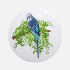 Blue Budgie on Green Ornament (Round)
