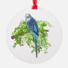 Blue Budgie on Green Ornament