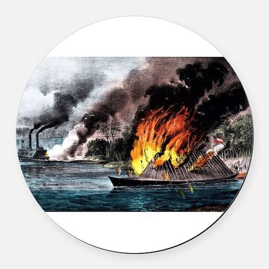 Destruction of the rebel ram Arkansas - 1862 Round