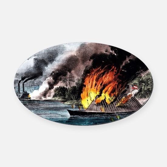 Destruction of the rebel ram Arkansas - 1862 Oval