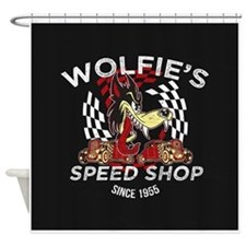 Wolfies Speed Shop Black Shower Curtain