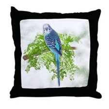 Blue Budgie on Green Throw Pillow