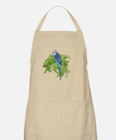 Blue Budgie on Green Apron