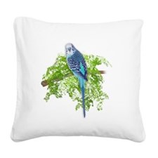 Blue Budgie on Green Square Canvas Pillow