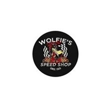 Wolfies Speed Shop Black Mini Button