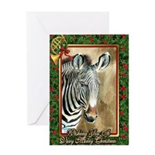 Zebra Christmas Card Greeting Card
