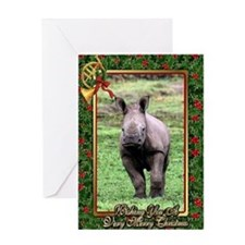 Rhinoceros Christmas Card Greeting Card